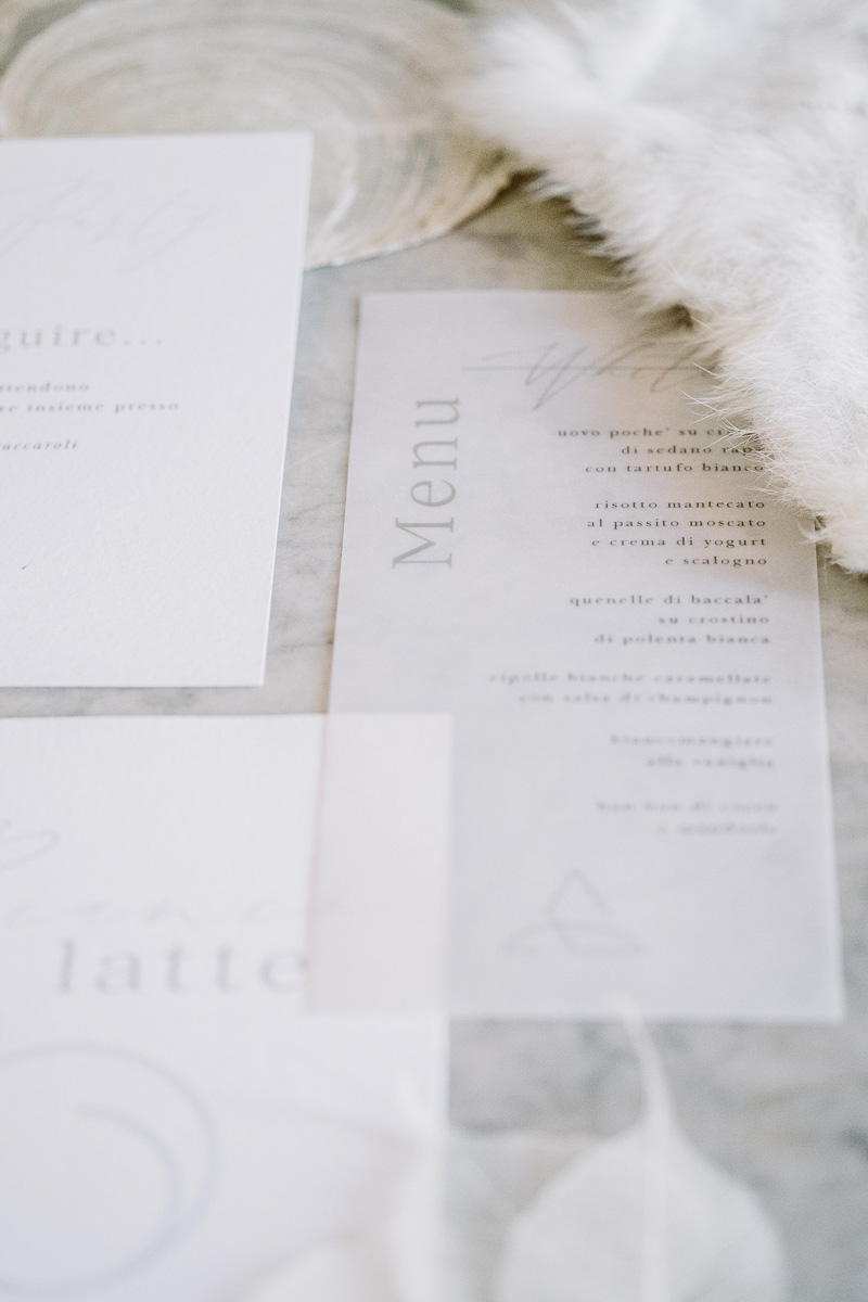 winter wedding in villa stationery