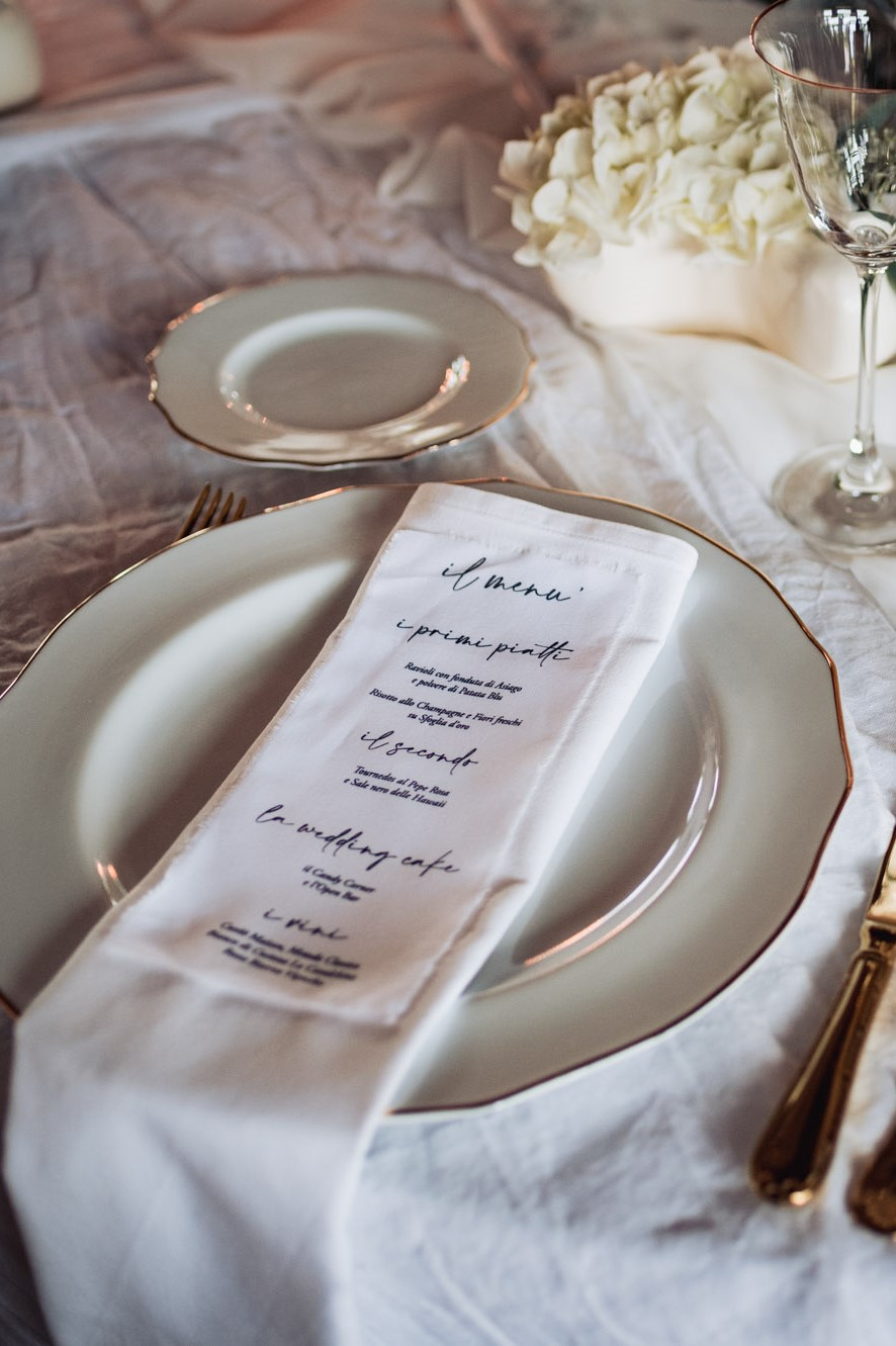 elegant wedding in villa stationery menu