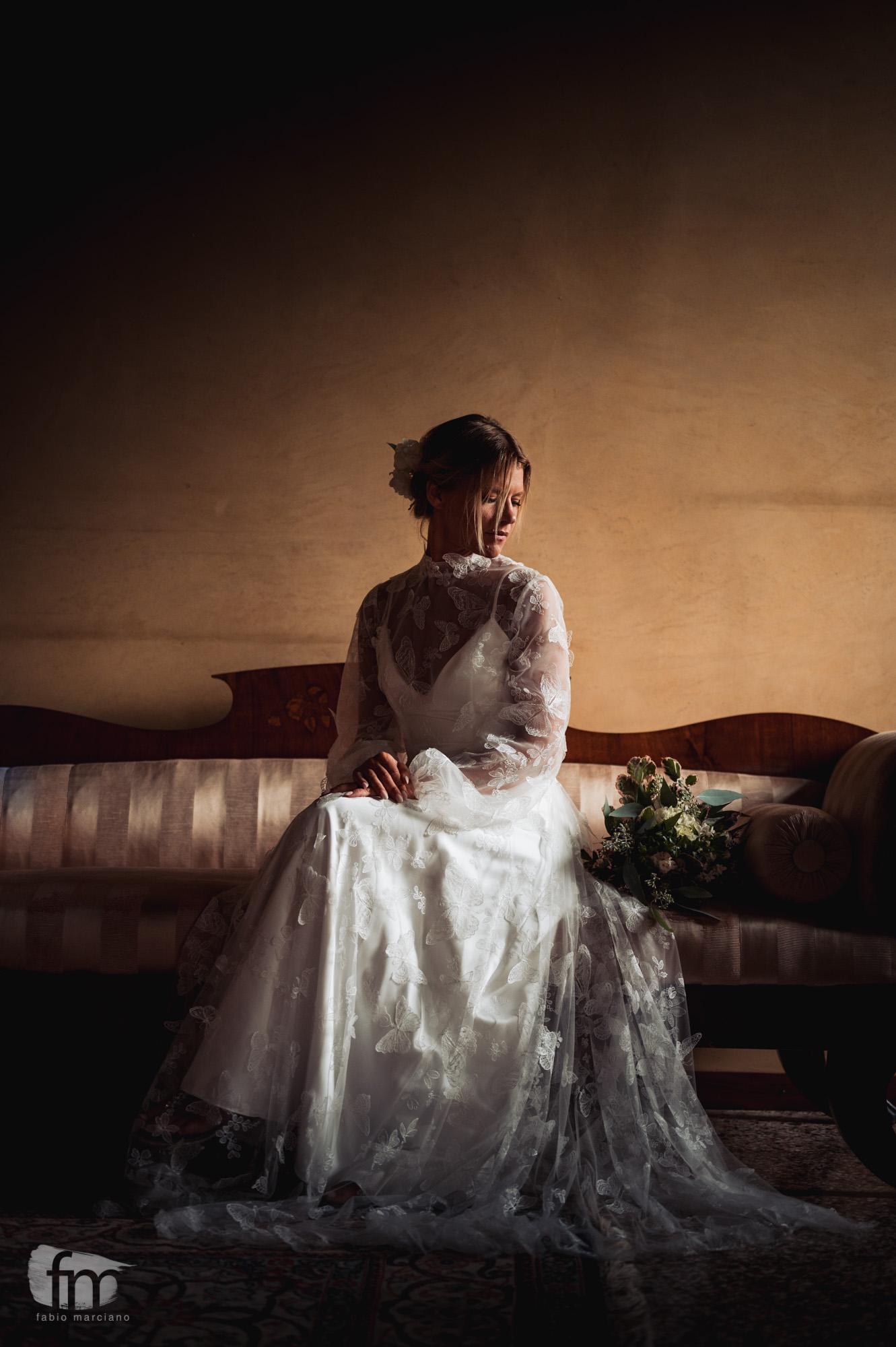 elegant wedding in villa stationery dress