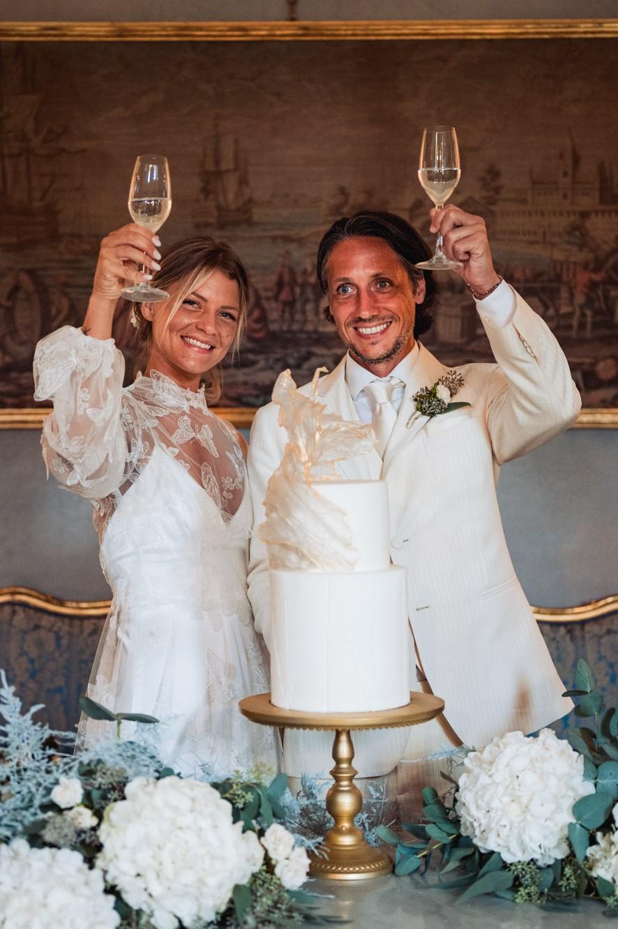 elegant wedding in villa stationery dress cake